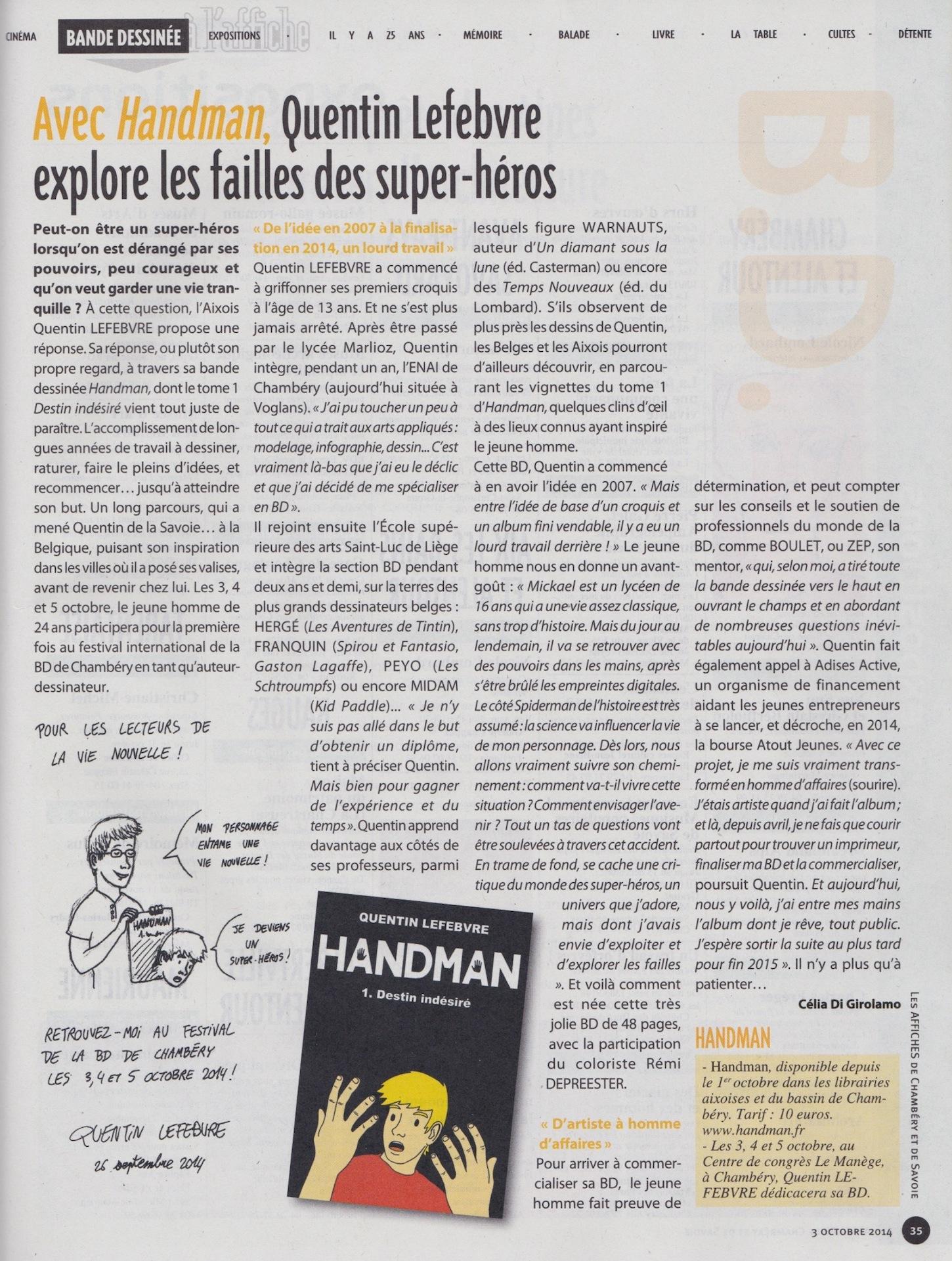 article de journal-la vie nouvelle du 3octobre2014 parle de handman