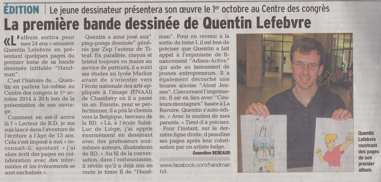 article-de-journal-le-dauphiné-libéré-aix-les-bains-du-19juillet2014-parle-de-handman-et-de-quentin-lefebvre