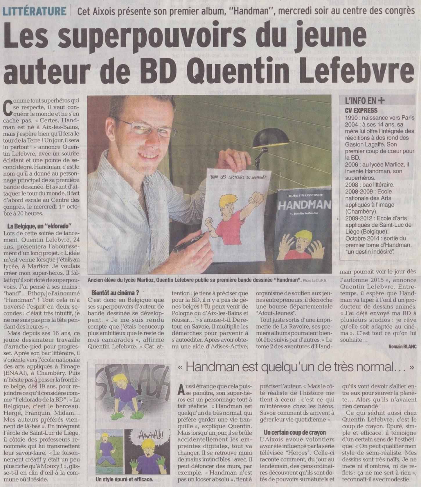 article de journal-le dauphiné libéré du 26septembre2014 parle de handman