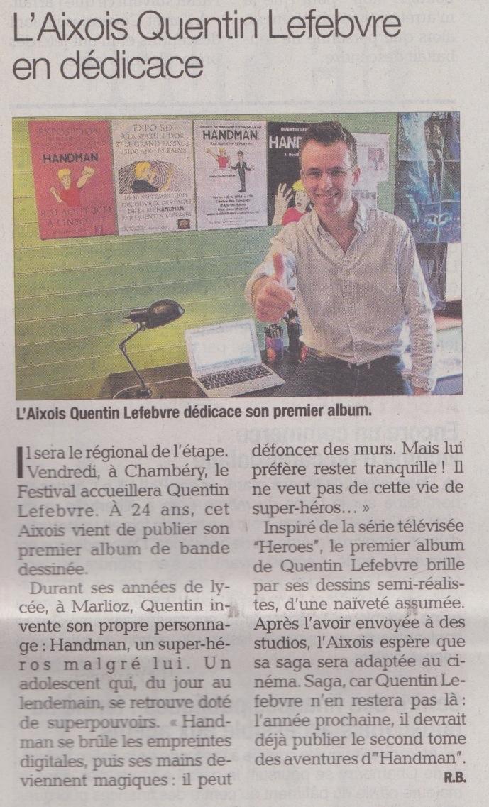 article de journal-le dauphiné libéré du 3 octobre parle de handman