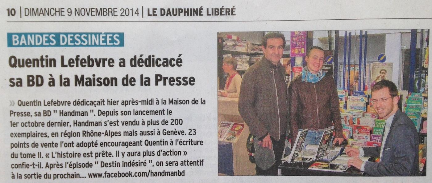 article de journal-le dauphiné libéré du 9 novembre 2014 parle d'une dédicace de handman