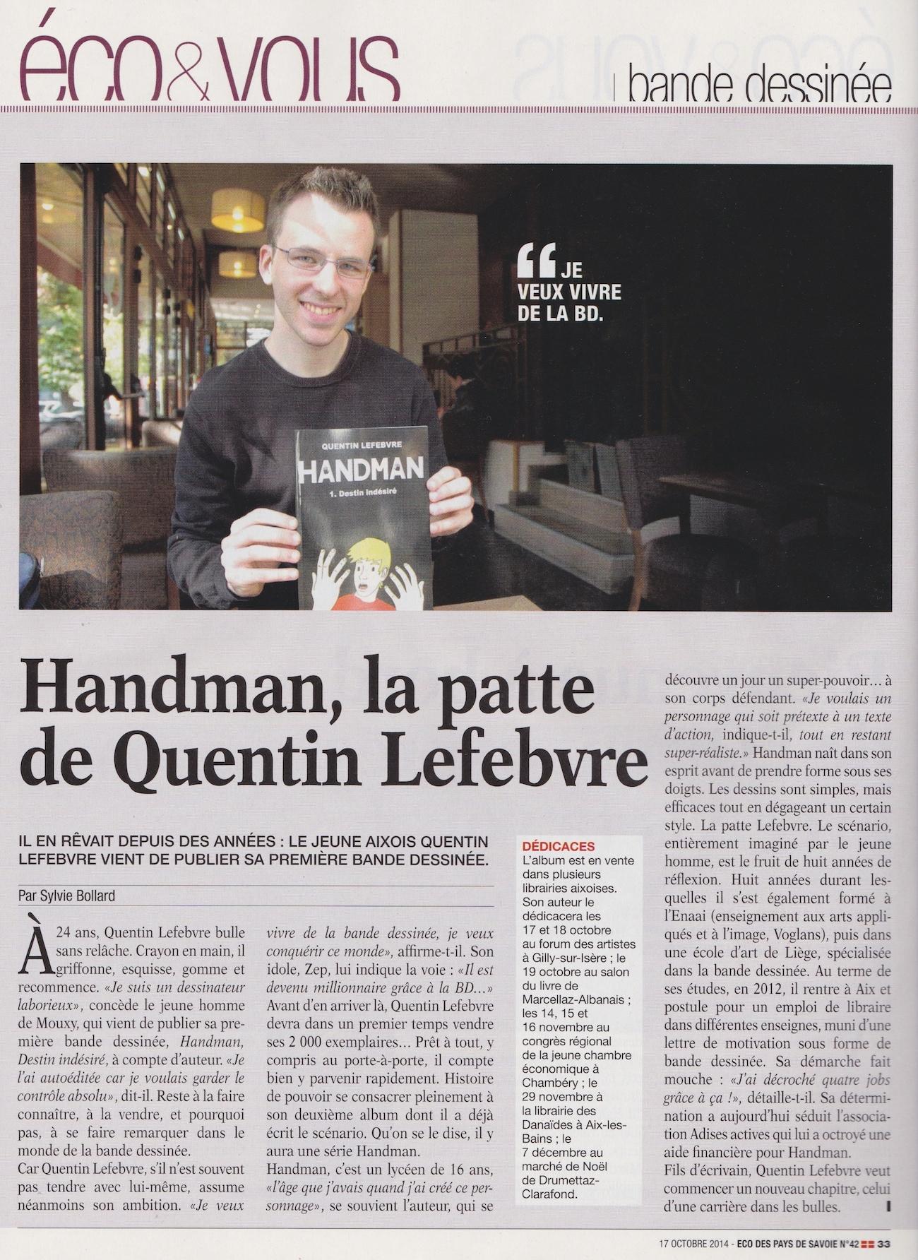 article de journal-l'eco des pays de savoie du 17 octobre2014 parle de handman