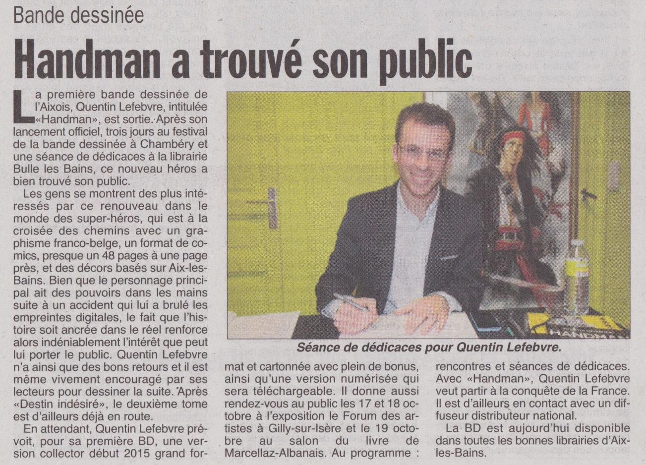 article de journal-l'hebdo des savoie du 16octobre2014 parle de handman