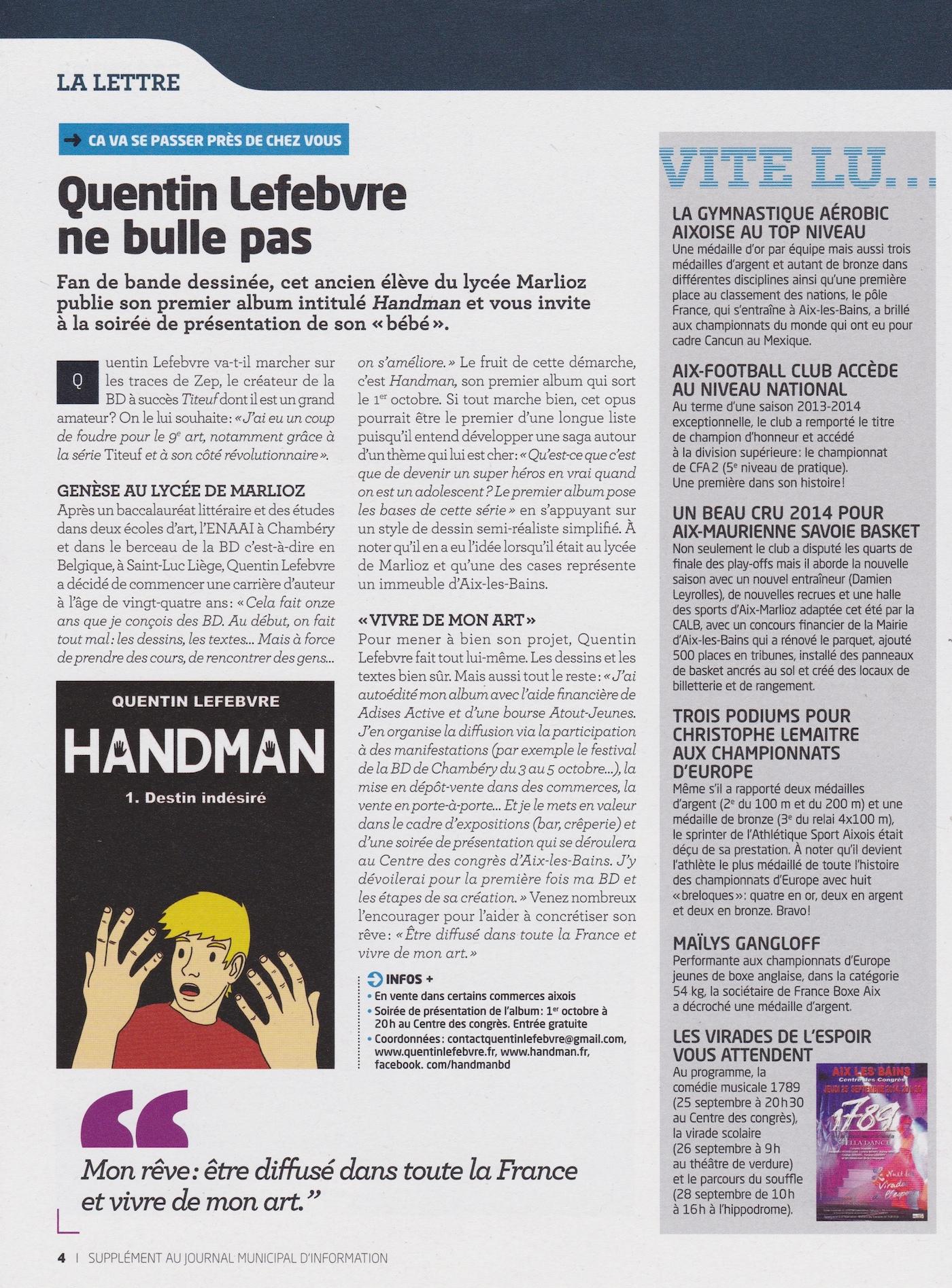 article de journal-la lettre muncipale d'aix les bains de septembre2014 parle de handman