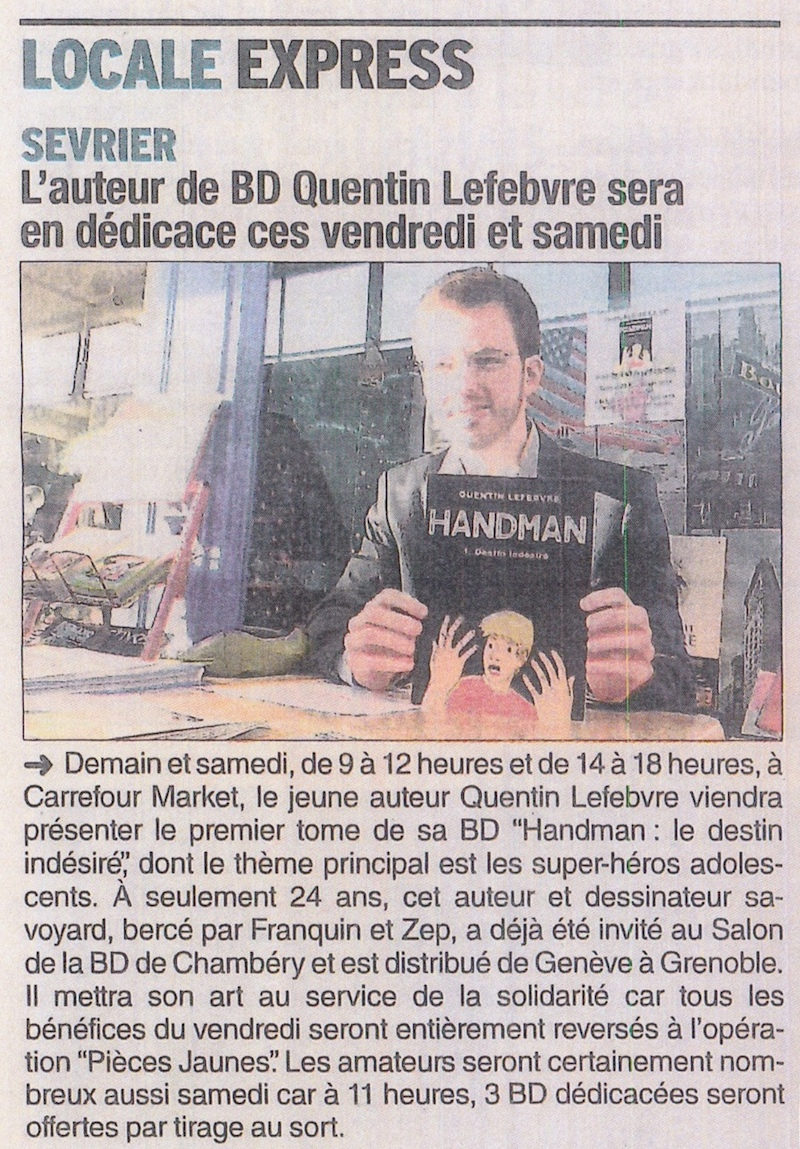 article de journal-le dauphiné libéré d'annecy du 29janvier2015 parle d'une dédicace handman