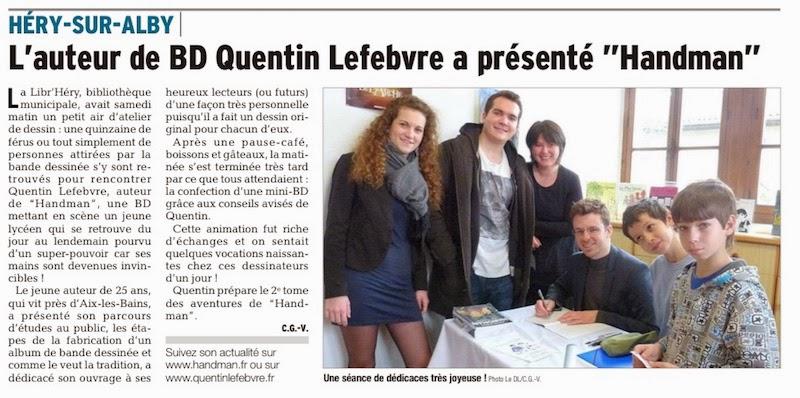 article de journal-le dauphiné libéré d'annecy du 7avril2015 parle de l'animation bibliothèque à héry sur alby