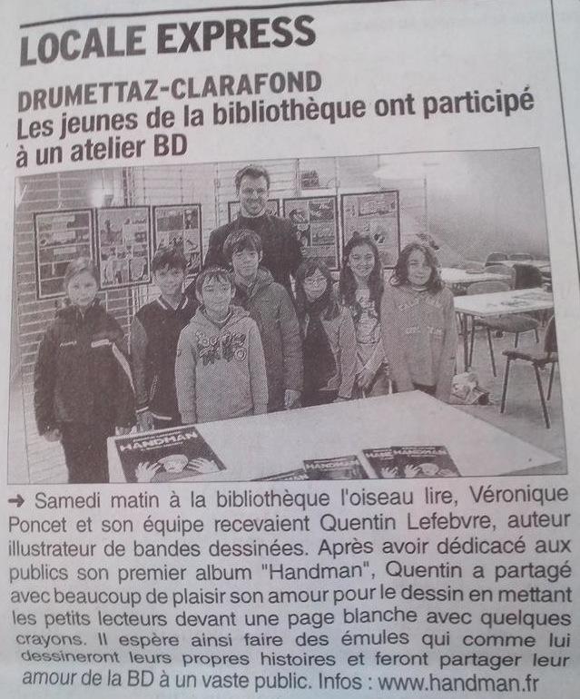 article de journal-le dauphiné libéré du 11février2015 parle de handman