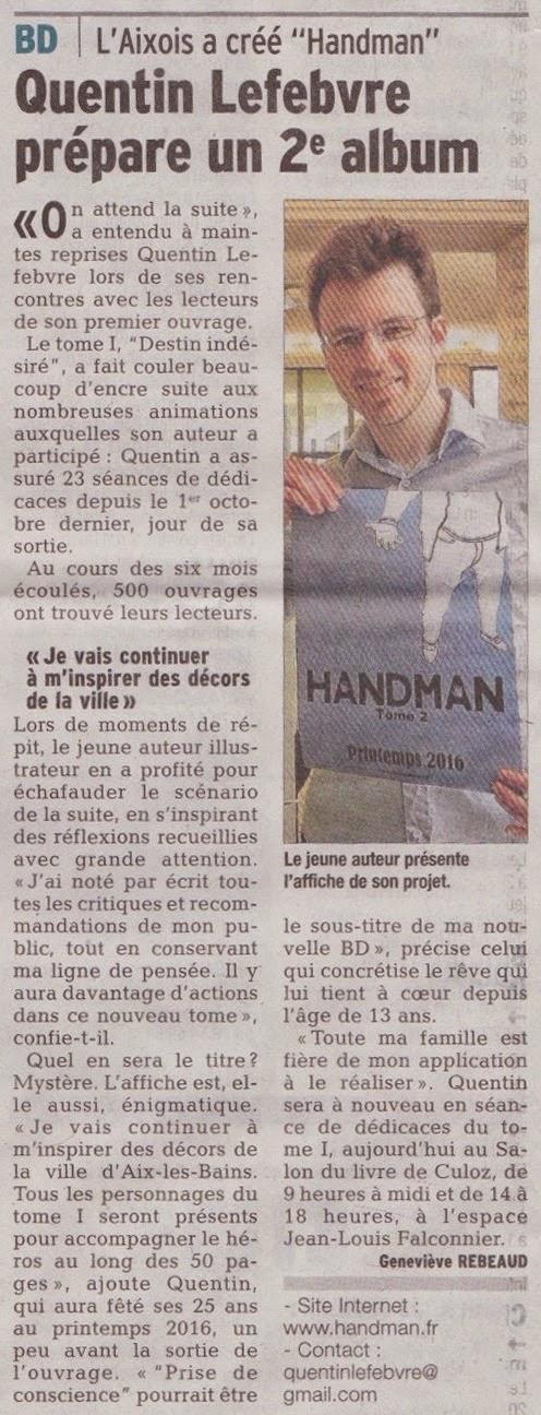 article de journal-le dauphiné libéré du 19avril2015 parle de handman2 à paraître