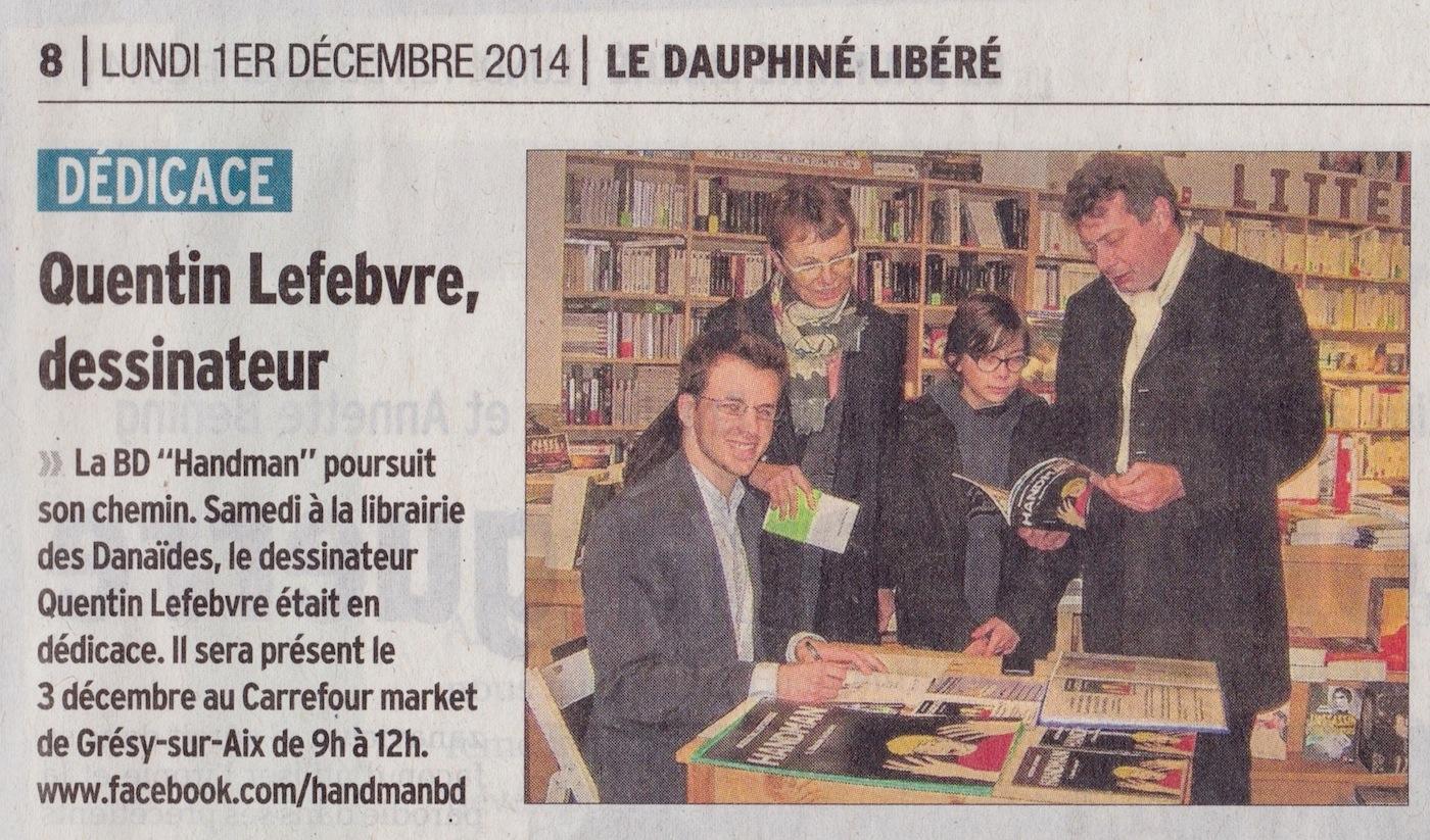 article de journal-le dauphiné libéré du 1er décembre 2014 parle de handman