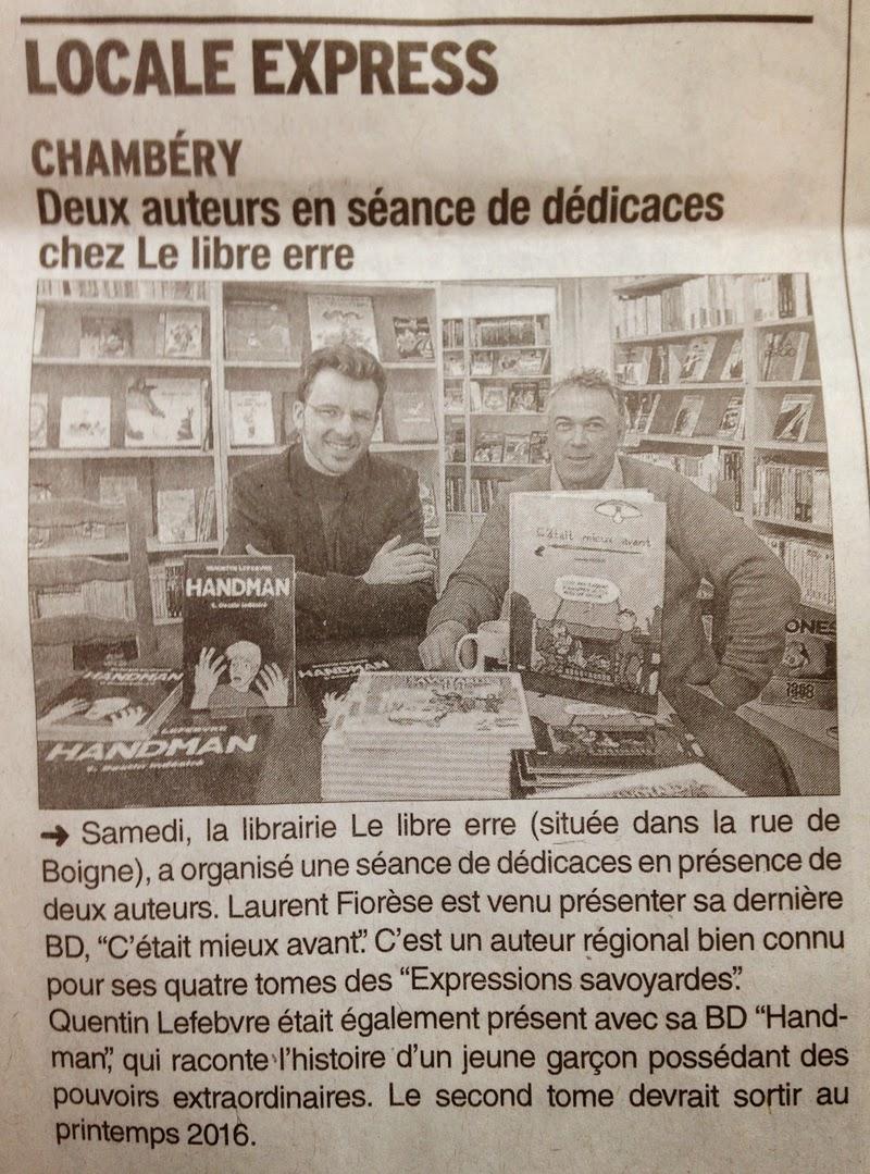 article de journal-le dauphiné libéré du 20 avril 2015 parle de la dédicace handman avec laurent fiorese chez le libre erre chambéry