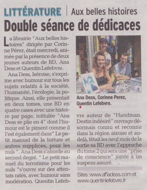 article de journal-le dauphiné libéré du 4juillet2015 parle de la double dédicace avec ana dess