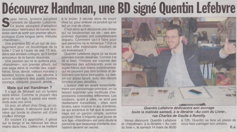 article de journal-l'hebdo des savoie du 12mars2015 parle de handman