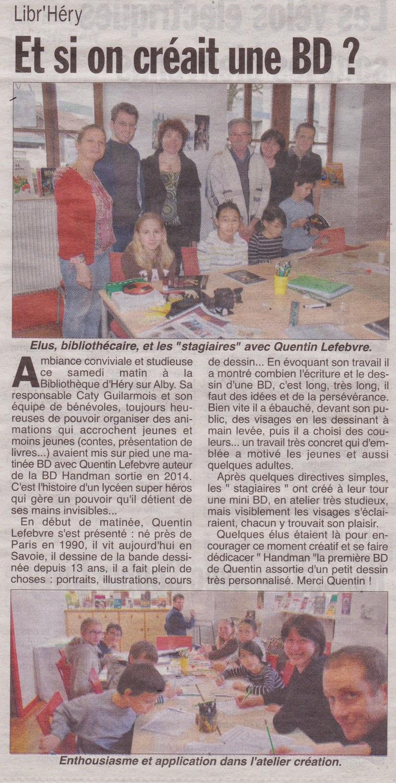article de journal- l'hebdo des savoie du 9avril2015 parle de handman